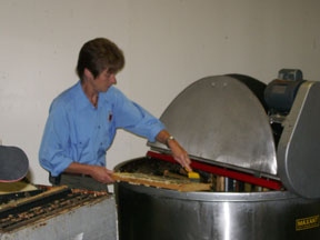 Extractors remove the honey from the honeycomb